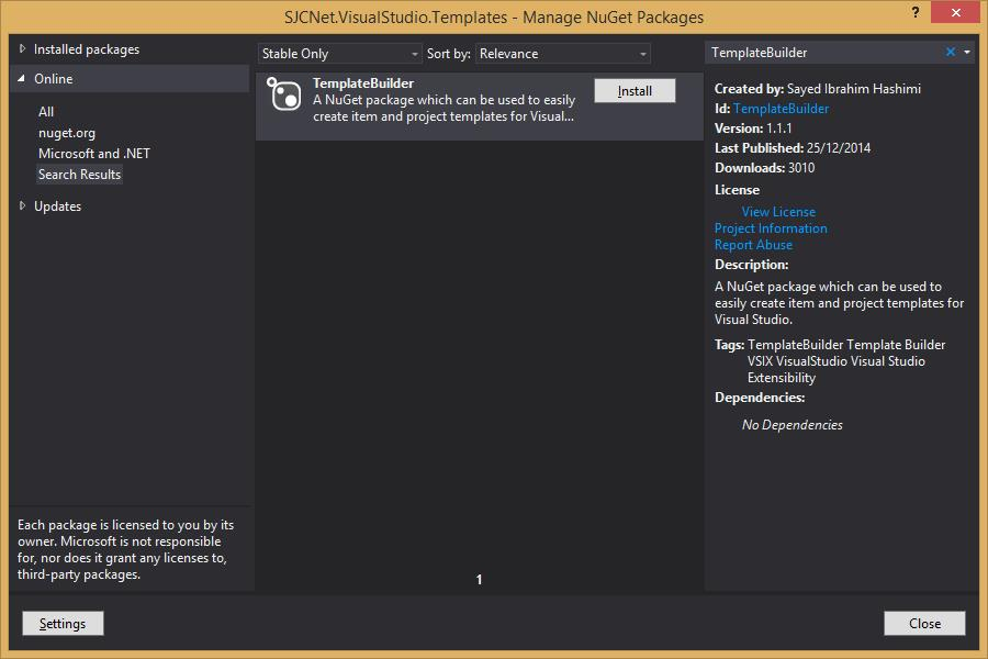 Nuget TemplateBuilder Package